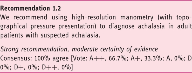 European Guideline on Achalasia – UEG and ESNM recommendations.  Recommendation 1.2